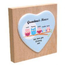 Owl Family Tree Ceramic Heart on Wooden Block - Personalised Ornament